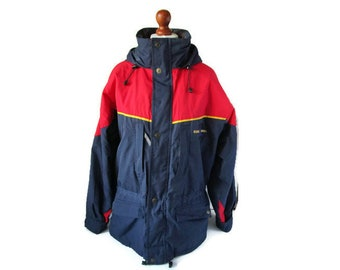 a9612c30ef Vintage 90s Ski Jacket Parka by DEAUVILLE DOWNHILL Men Insulated Winter  Parka Coat Active-Wear Casual Jacket Blue Red Size MEDIUM