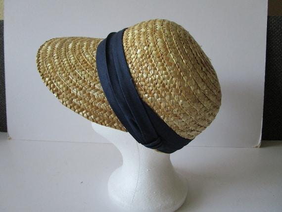 Vintage Real Straw Hat Golf Visor Scoop Panama St… - image 4