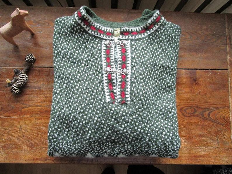 Vintage Green White Wool Sweater Nordic Sweater Norwegian Sweater Ski Sweater Mens Pullover Wool Jumper Menswear Size Medium M Unisex