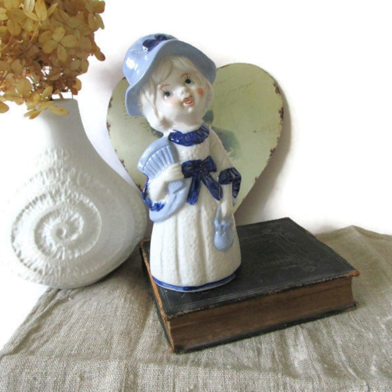 Sweet Swedish Girl with Hat Ceramic Figurine Collectible Girl Figure White and Blue Sweden 1960s Vintage Home Decor Kids Room Decor