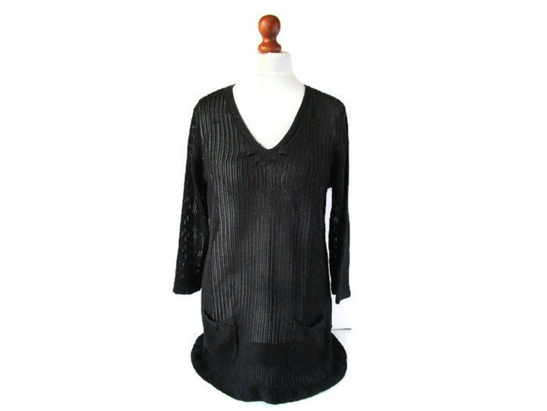 90s Vintage Sweater Black Mesh V Neck Pullover Textured Knit Sweater Womens Casual Comfortable Top Size XL Spring Summer Womens Top