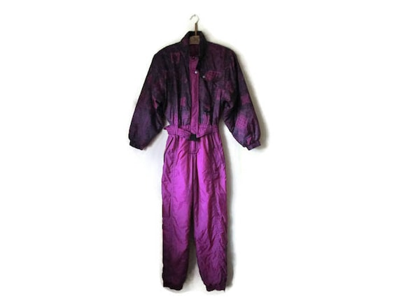 Snowsuit Wear Piece Suit Small Ski Retro Purple Size Snow Vintage Winter Woman One Hipster Jumpsuit tf7zz