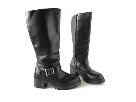 Vintage Leather Boots Black Leather Boots Tall Lea