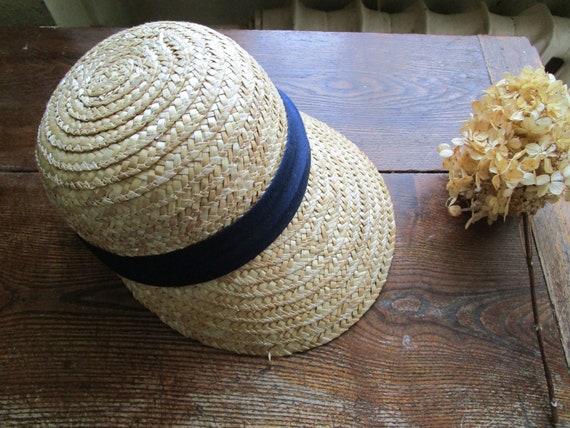 Vintage Real Straw Hat Golf Visor Scoop Panama St… - image 1