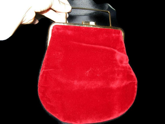 12b732cfa9e Vintage Raspberry Red Bag Retro Velvet Evening Bag Red Party Bag Vintage  Gift for Her