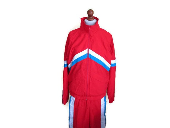 Up Vintage Warm Retro Athletic Track Blue Suit Red Unisex Pants Sports Tracksuit White Jacket Jogging Suit Track Medium 80s Sweden Stripes axAZYw4