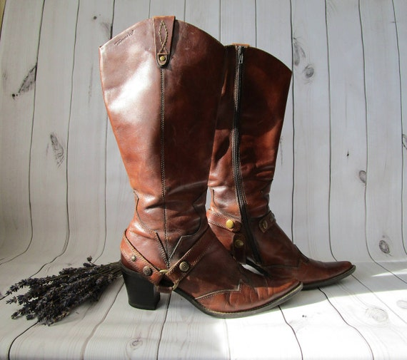 Cowgirl Boots Cowboy Boho western style women by style boots brown real Chic Cognac TAMARIS leather Country vCTvqaF