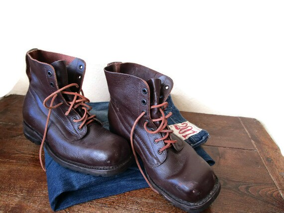 9431d7f93bc 1960s Swedish Army Boots Brown Leather Army Ankle Boots Hiking
