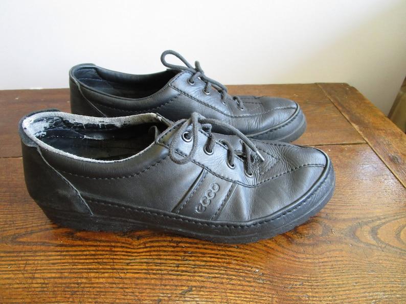 fa74828dbb5b 90s Vintage ECCO Shoes Mens Shoes Black Leather Walking Shoes