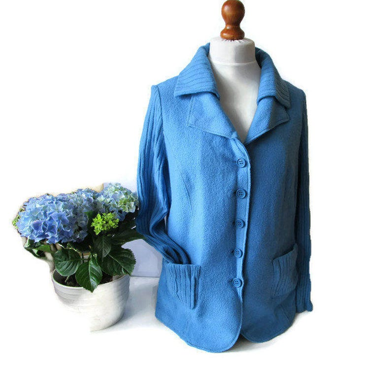 1f9fb1aec4b0c Weiche Vintage blaue Strickjacke blau Jacke Blau Pullover
