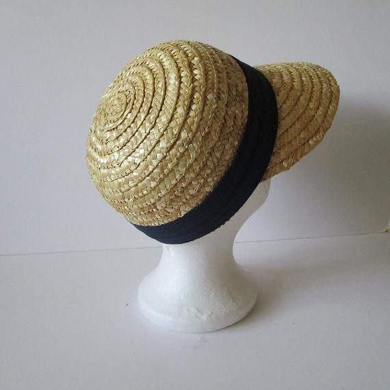 Vintage Real Straw Hat Golf Visor Scoop Panama St… - image 3
