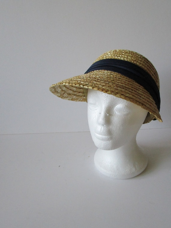 Vintage Real Straw Hat Golf Visor Scoop Panama St… - image 5