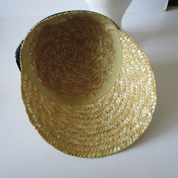 Vintage Real Straw Hat Golf Visor Scoop Panama St… - image 6