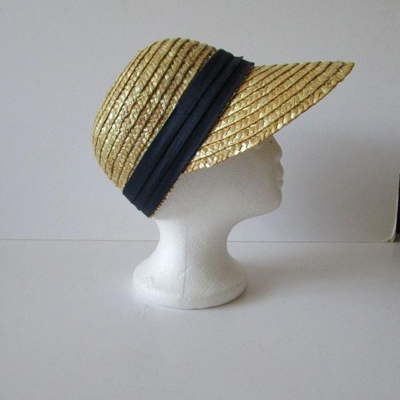 Vintage Real Straw Hat Golf Visor Scoop Panama St… - image 2