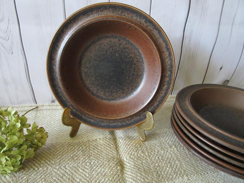 One ARABIA Finland RUSKA Soup Plate Ulla Proscope Design Brown Stoneware Ceramic Mid Century Modern Scandinavian Design Finnish Kitchenware