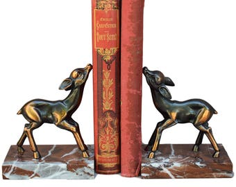 French Vintage Pair of Fawn Bambi Bookends  - Home & Office Decor - Gift Ideas Art Deco Book Ends - Marble Deet Bookcase Decoration