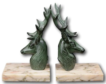 French Vintage Pair of Stag Bookends, Majestic Stag Green Patina Bookends, Home & Office Decor, Gift Ideas Art Deco Book Ends,