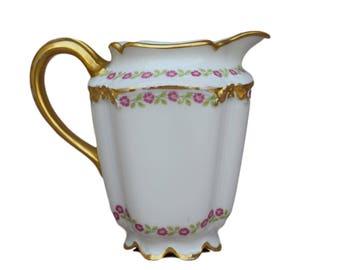 Limoges Porcelain Milk Jug - GDA France Gold Milk Pot - Liberty Style - Gold Milk Pitcher - Cafe au Lait Petit Dejeuner