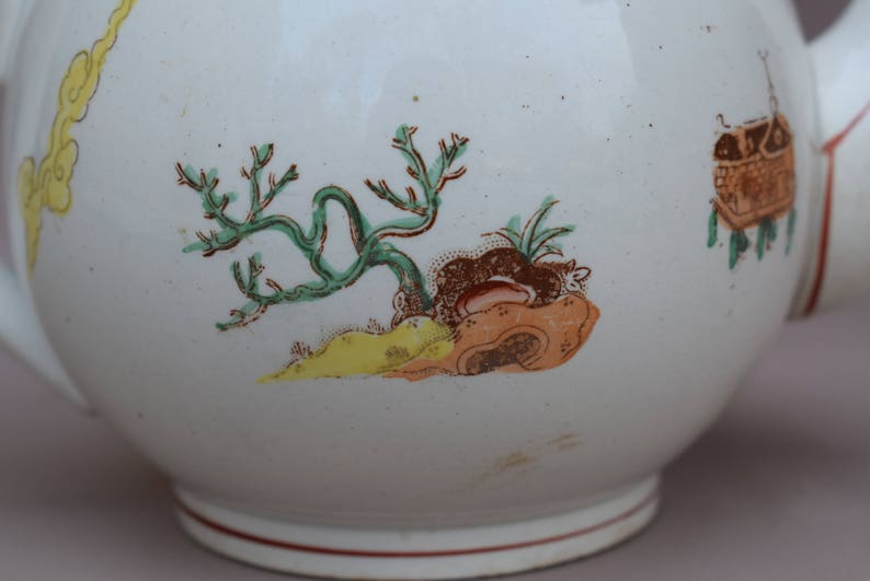 French Antique Digoin Sarreguemines Coffee Tea Pot French Country Cottage Kitchenware Chinese Japanese Motif Chinoiserie