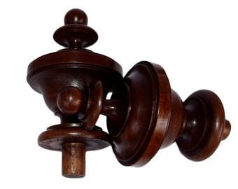 French Antique Architectural Pair OfWood Newel Post Cap Finial   Turned Wood  Salvage Bed Furniture Finials