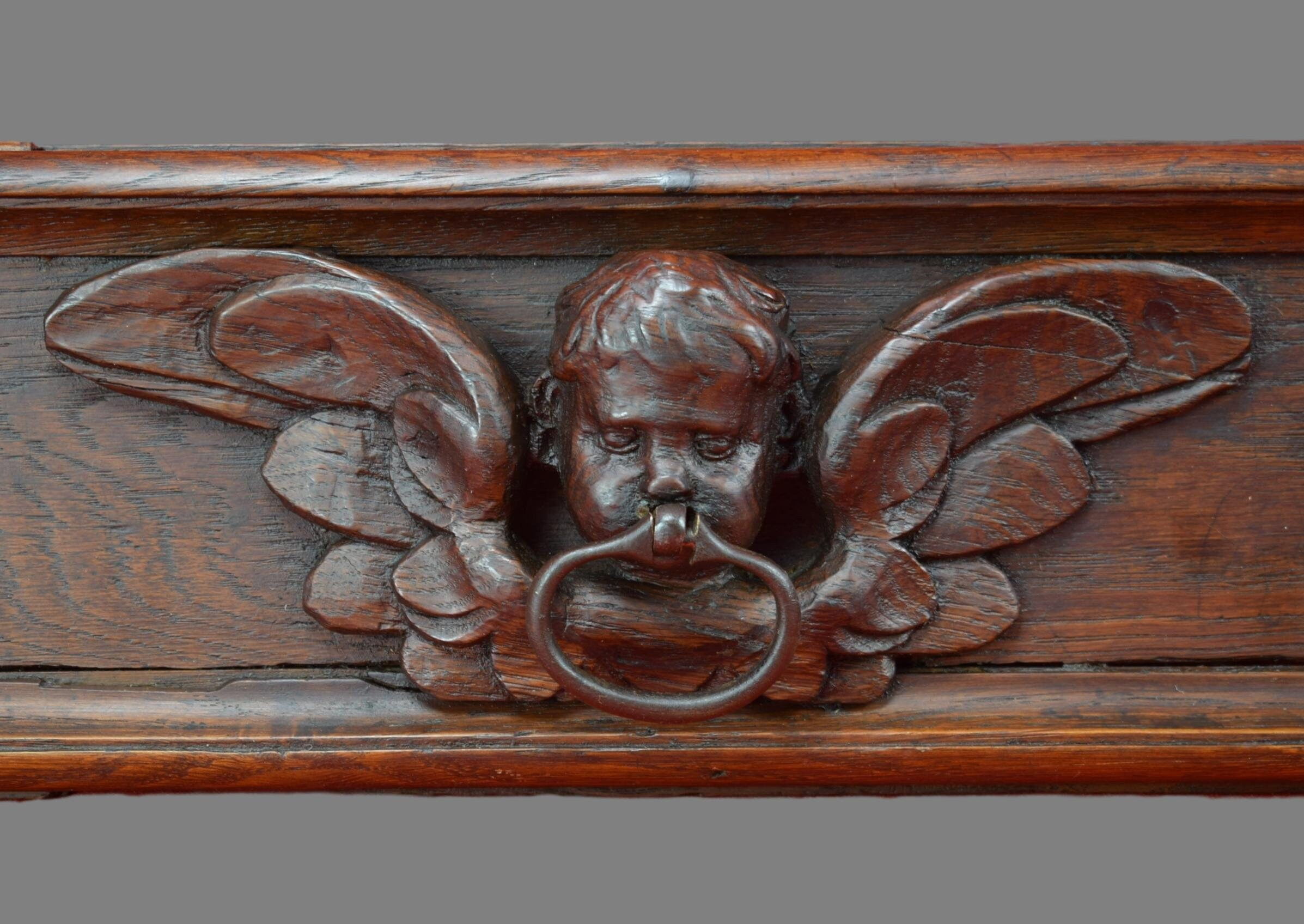 17th.c French Hand Carved Oak Wood Bird Dove Eagle Pediment Panel Scupture Antiques