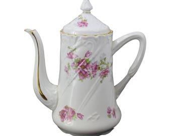 French Vintage Limoges Porcelain Coffee Tea Pot - Floral Little Roses Design - French Country Cottage Kitchenware - Petit Dejeuner