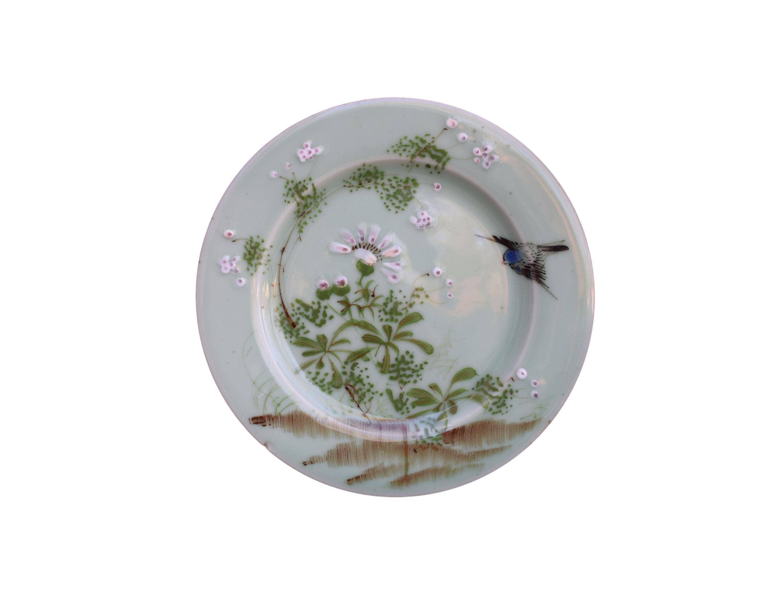 Antique Japanese Celadon Plate Bird and Flower Celadon ...