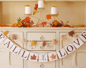 Fall wedding etsy fall in love banner bunting for fall weddings autumn weddings bridal showers engagement parties junglespirit Choice Image