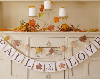 FALL IN LOVE banner bunting for fall weddings, autumn weddings, bridal showers, engagement parties