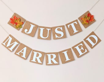 Wedding Decoration Just Married Flag Bunting Banner, Autumn Fall in Love Wedding Sign with Autumn Leaves