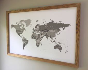 Framed World Maps Etsy