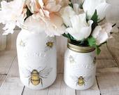 Honey Bees Painted Kilner Jar, Jar Vase, Table Centrepiece, Gift, Wedding, 1 litre or 500 ml kilner jar, bumble bee, honey bee