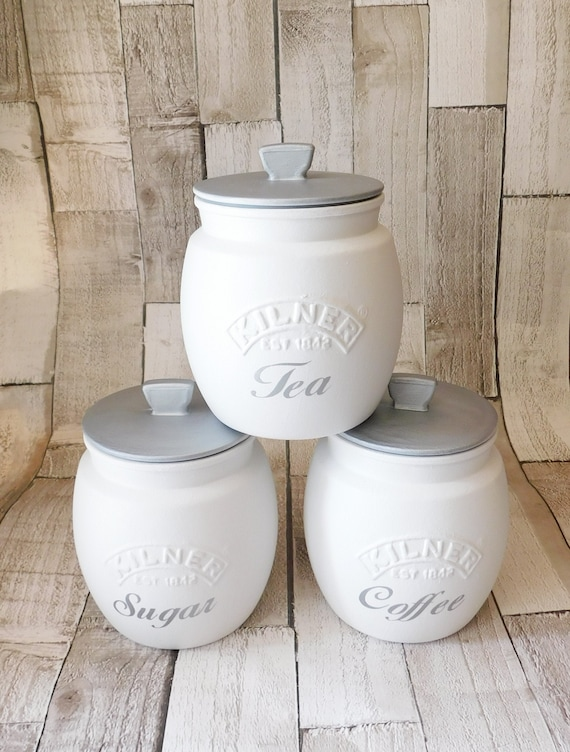 White Silver Kitchen Canisters, Tea Coffee Sugar Jars, Sugar Pot, Coffee  Pot, Tea Caddie Caddy, White Silver Lids, Kilner Retro Jar