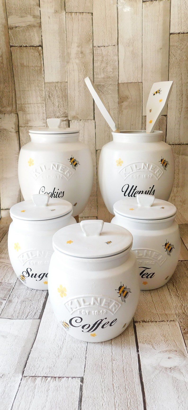 White Bumble Bee Kitchen Canisters Tea Coffee Sugar Jars image 0
