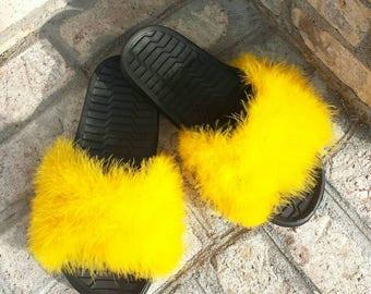 4b8f69b17bfc9a Yellow fur slides - Custom Furry Slides - Yellow fuzzy slides - Nike fur  slides - Celebrity slides - slip ons - Rhianna slides