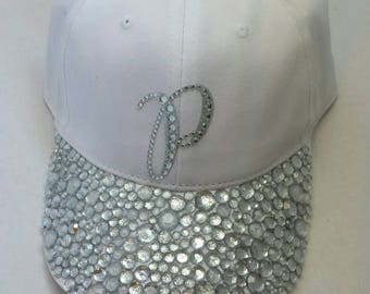 White bling hat - Custom Hat - Rhinestone Hat - Baseball Bling -  personalized hat - Crystal hat - hats with bling - ladies cap - Girls hat e2ad284399