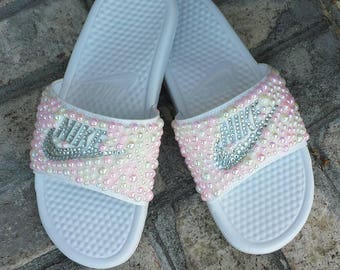 a413ee3067a Bling Nike Slide Shoes - Bedazzled Slippers - Custom Nike Slides - Crystal  Slides - Embellished Nike Shoes - Female Athlete - Glam - Pink