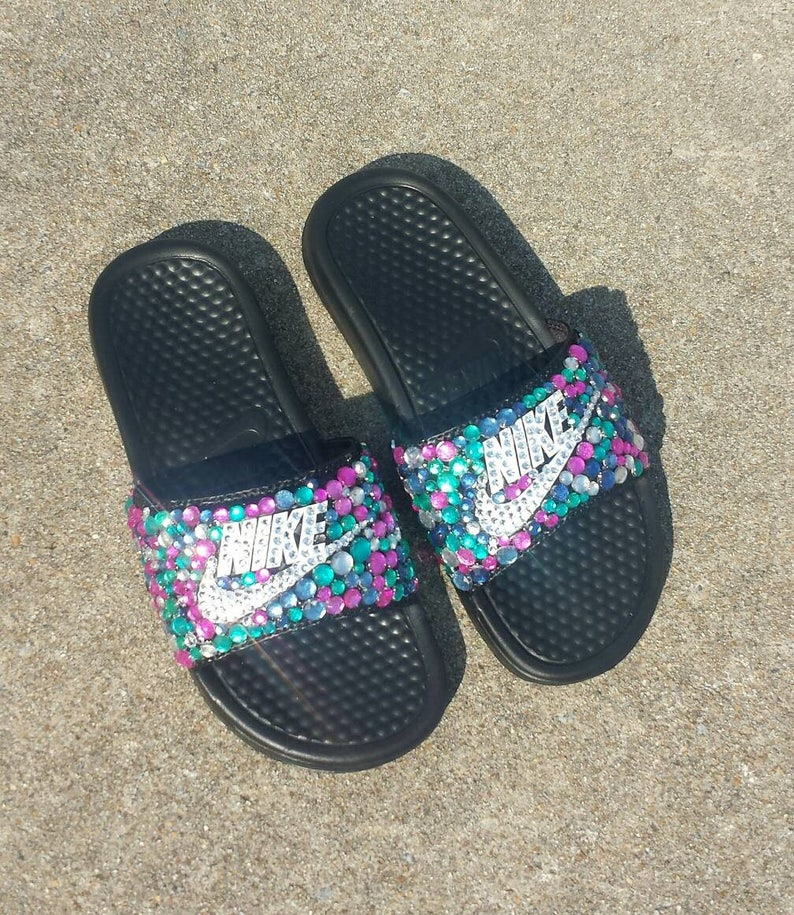 buy popular 21ae4 e1cf6 Bling Nike Slide Bedazzled Slippers Custom Nike   Etsy