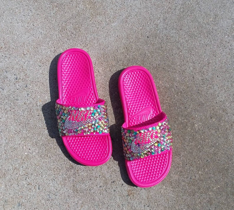 b4c8377765f0 Bling Nike Slides - Bedazzled - Pink - Benassi - Sparkly - Custom Nikes -  Multi-Colored - Glam Shoes - Female Athlete - Diva -