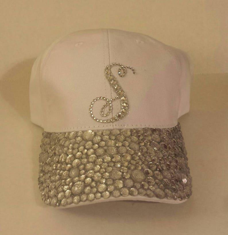 White bling hat Custom Hat Rhinestone Hat Baseball Bling  4f9a16c01747