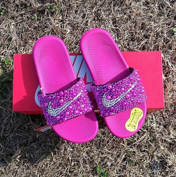 9f25ec93a386 Pink Nike Bling Slides Girls Bedazzled Custom slides