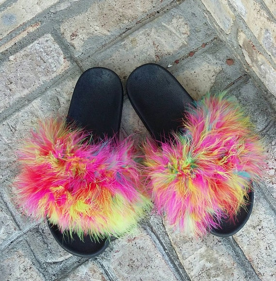 rainbow fur slides colorful slides furry fuzzy sandals etsy