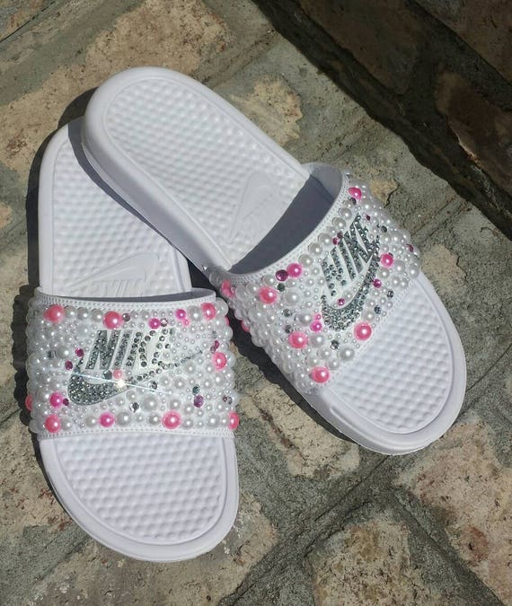 416983a1e4568e Bling Nike Slide Shoes Bedazzled Slippers Custom Nike
