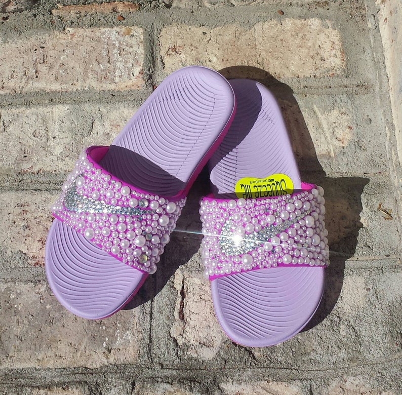 separation shoes 02a55 d93c0 Pink Youth Bling Nike Slides Bedazzled Girls Custom Nike   Etsy