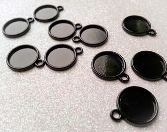 12mm Black Enamel Coated Cabochon Tray Setting - 10 Pcs