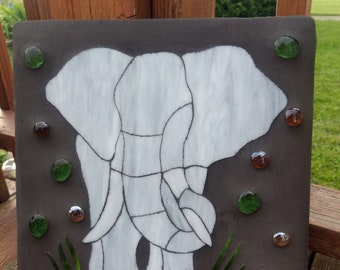 Elephant Stain Glass Cement Garden Stone