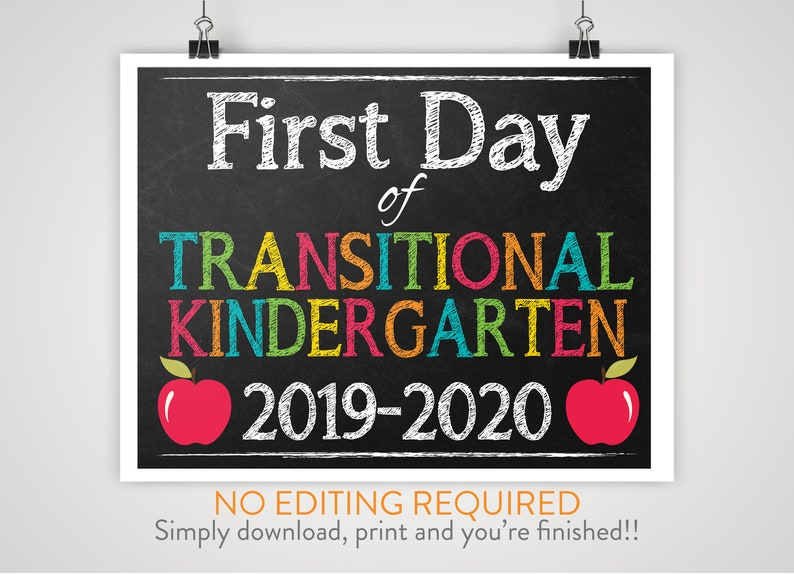 picture regarding Printable First Day of Kindergarten Sign titled Do-it-yourself Printable 1st Working day of Transitional Kindergarten Indication Chalkboard Historical past Print-at-House Immediate Down load, No Modifying Essential