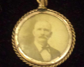 Victorian Mourning Jewelry double-photo portrait watch faub with jewels