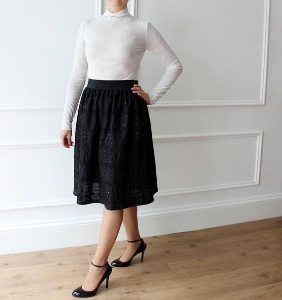 more photos ce8be b19c5 Elegante gonna nera Gonna vita alta Gonna con pagllietes Gonna midi 1950s  skirt Evening skirts Pleated skirt Valentines day gift