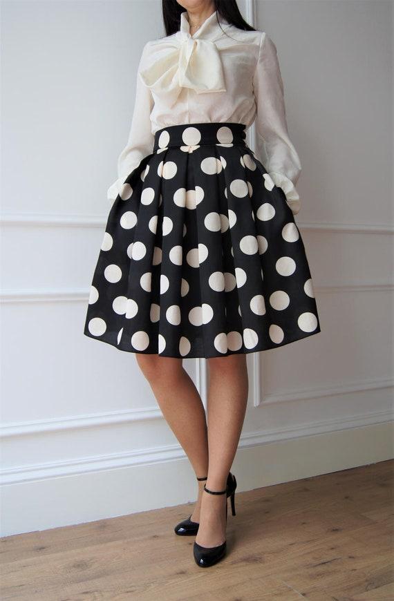 huge discount 5c2ea 36fae Polka dot skirt Gonna anni 50 Gonna a pieghe Gonna elegante Gonna a vita  alta Gonna a pois Valentines day Knee length skirt Loose skirt